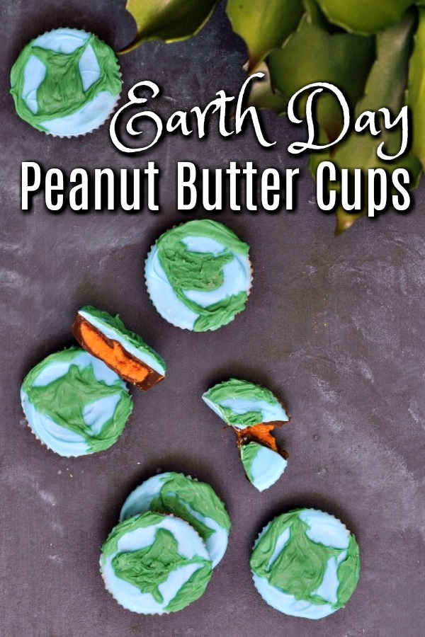 peanut butter cups decorated as blue and green earths for Earth Day