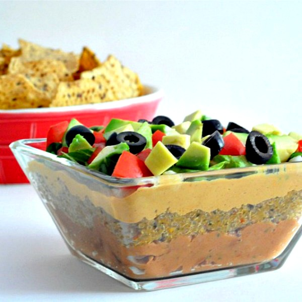 Seven Layer Dip with Noocho Cheese Sauce