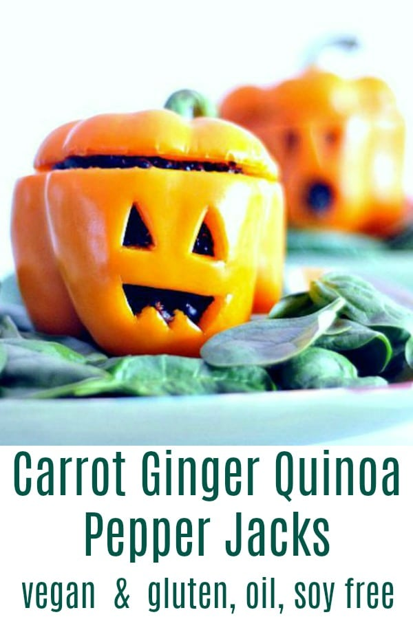 Carrot Ginger Quinoa Pepper Jacks @spabettie #vegan #glutenfree #oilfree #soyfree #Halloween