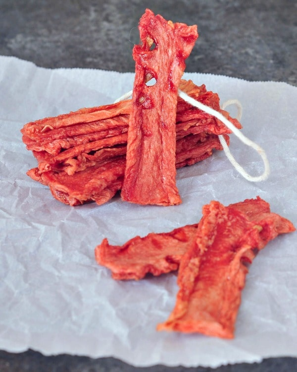 watermelon candy strips on parchment