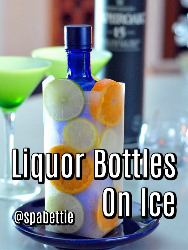 Liquor Bottles on Ice @spabettie #vodka #cocktails #party