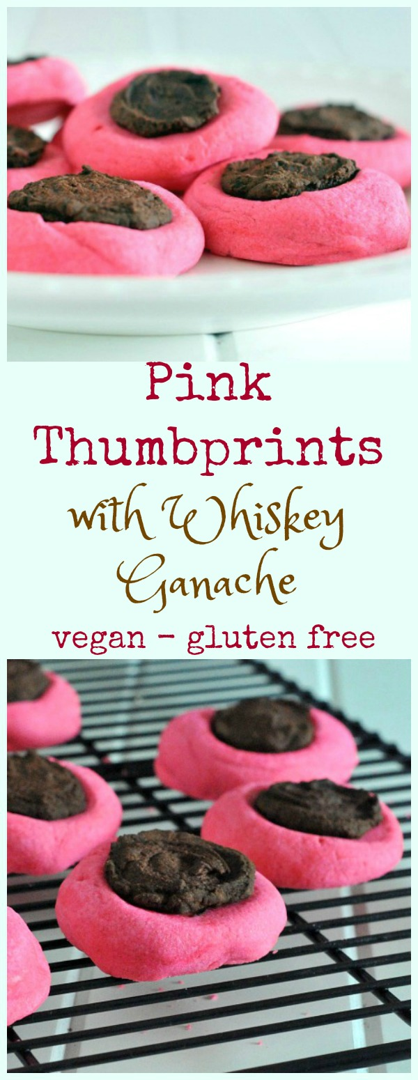 Pink Thumbprints Cookies with Chocolate Whiskey Ganace on a plate