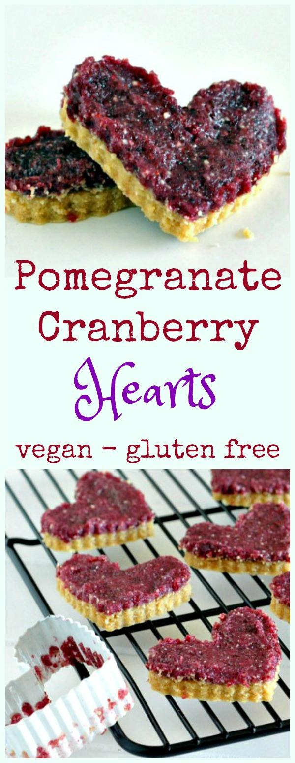 pomegranate cranberry bars cut into heart shapes