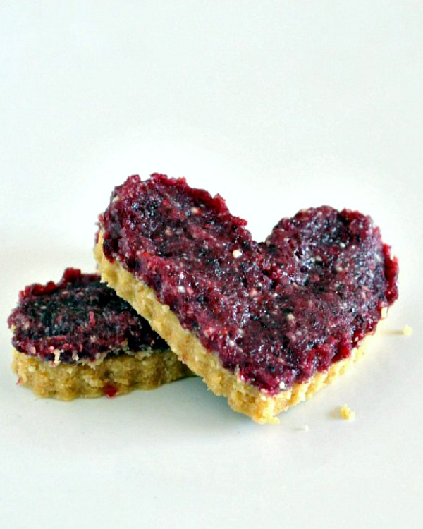 Pomegranate Cranberry Bars cut into heart shape