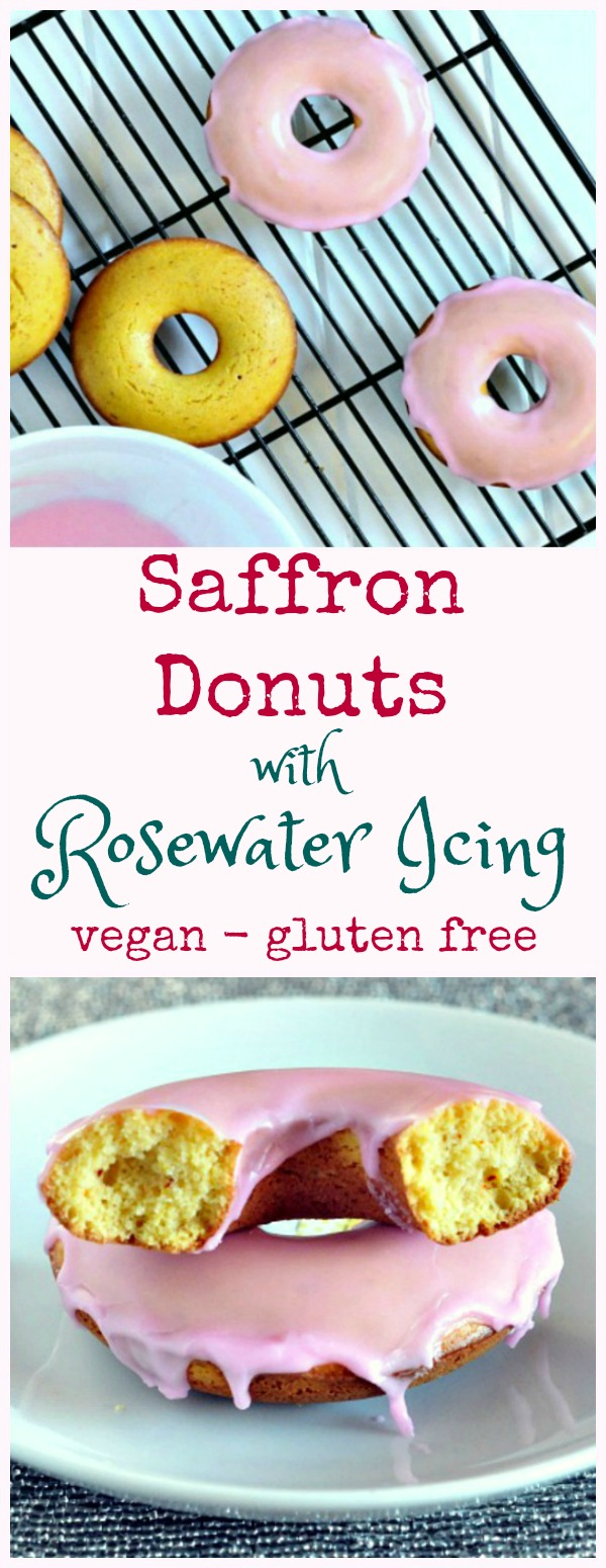 Saffron Donuts with Rosewater Icing on a baking rack