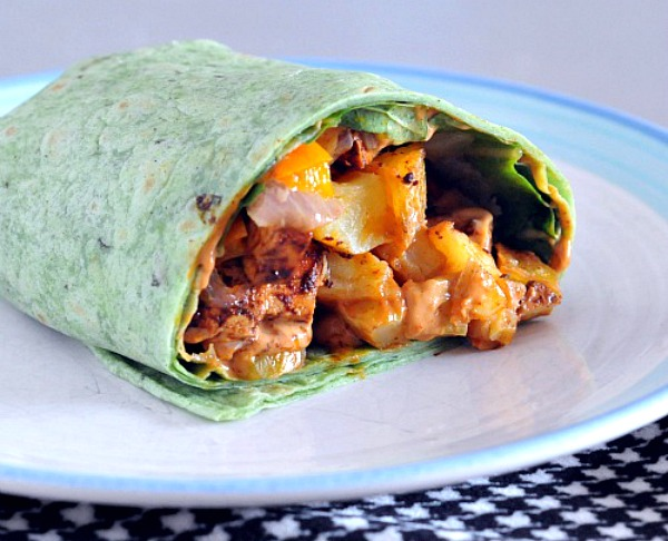meal prep recipe! Chipotle Tofu Burrito on a plate -