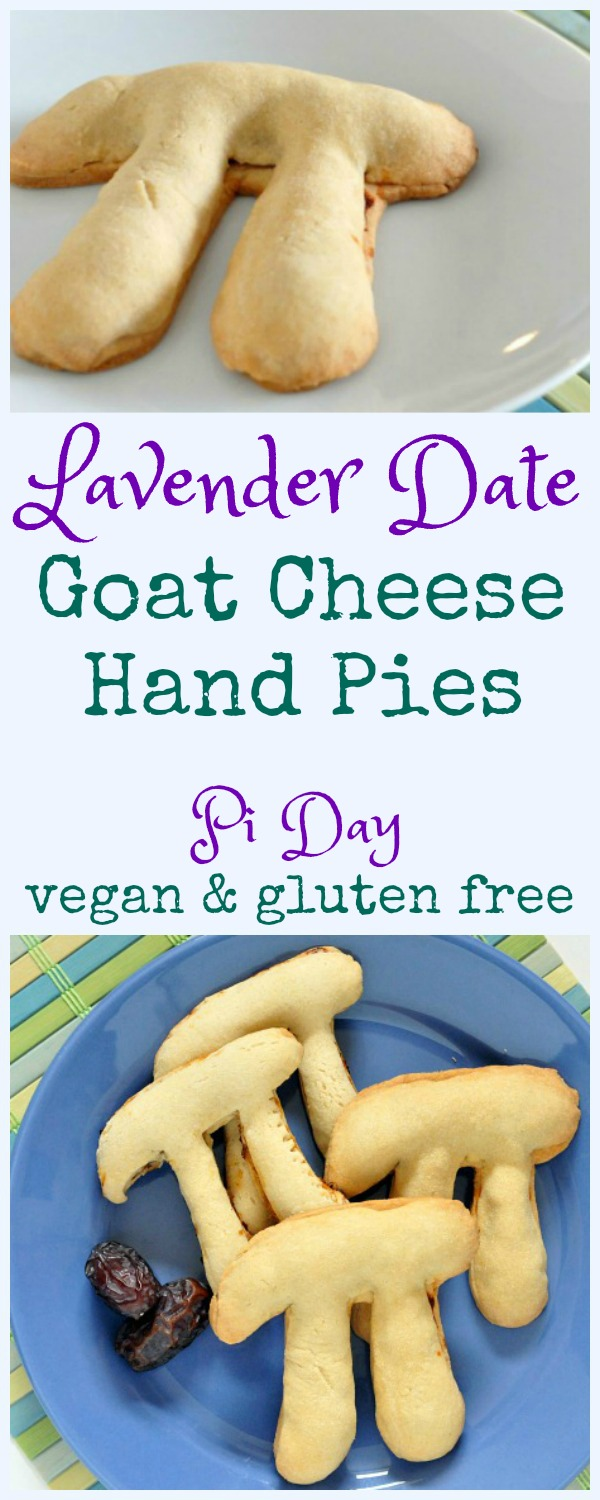 Lavender Date Goat Cheese Pies, shaped like the Pi symbol