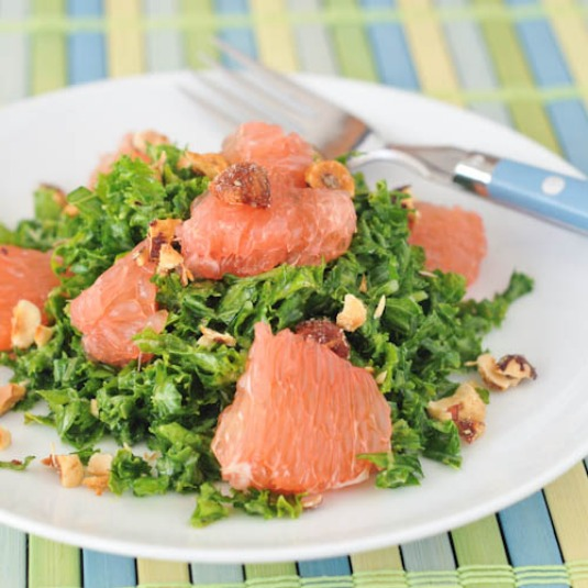 grapefruit kale chiffonade