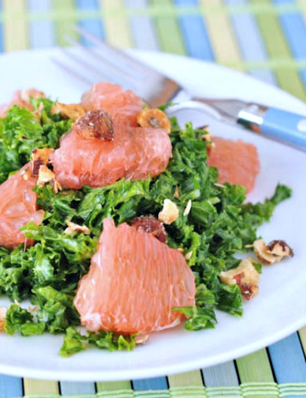 Grapefruit Kale Salad, included in a collection of vegan kale recipes