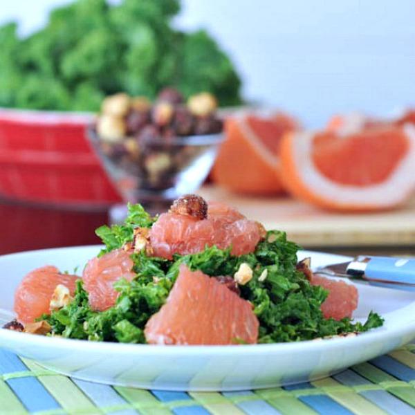 Grapefruit Kale Chiffonade Salad