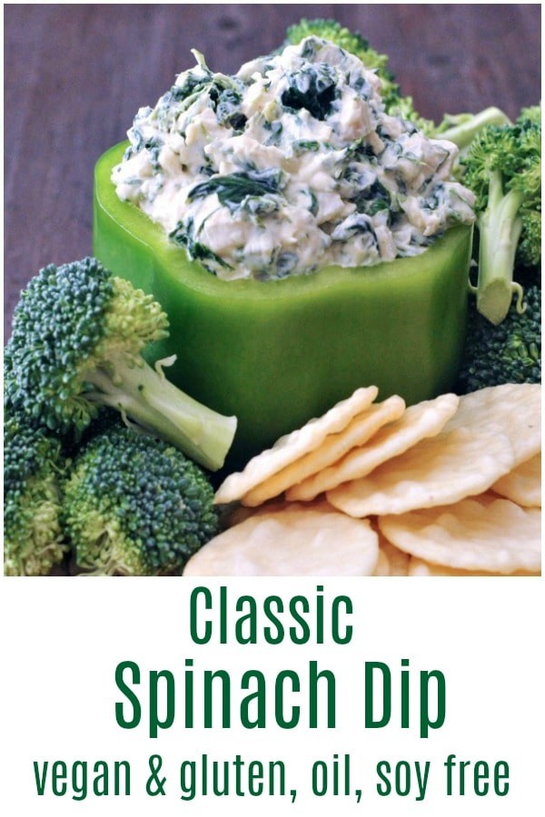 Classic Spinach Dip @spabettie #vegan #oilfree #glutenfree #soyfree #dip #snack #appetizer #party