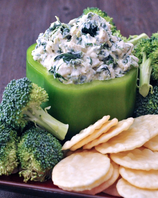 Oil Free Spinach Dip with fresh broccoli trees for dipping