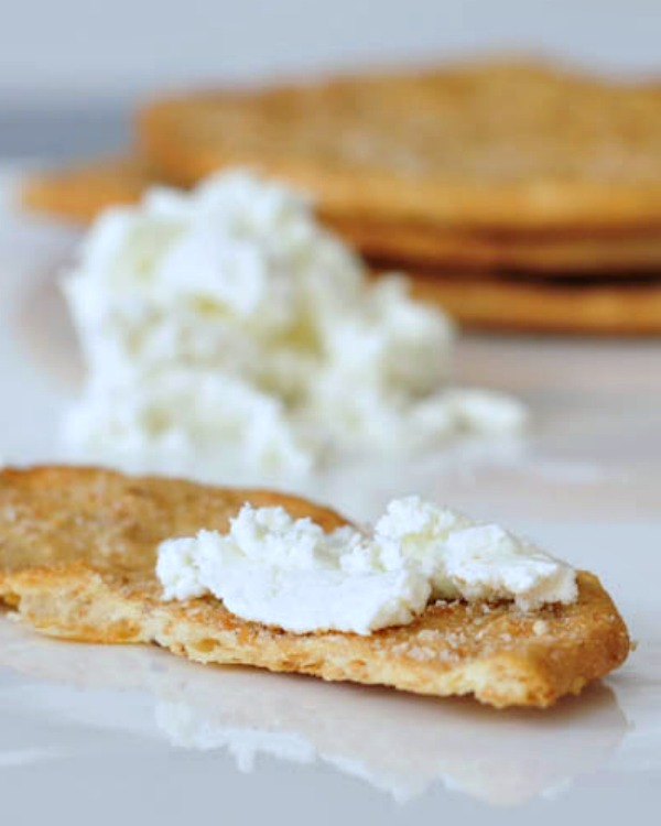 Vegan Goat Cheese spread on a cracker