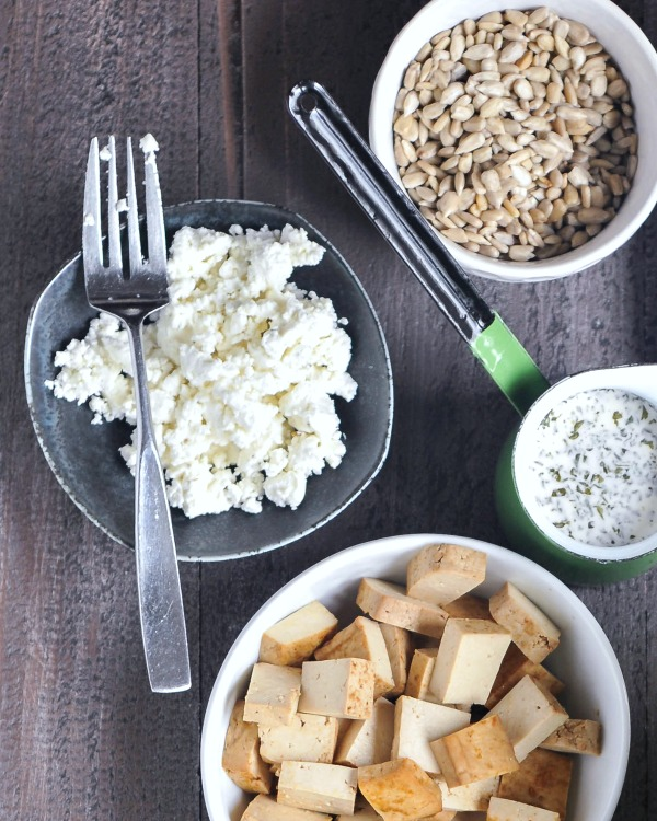 Vegan Goat Cheese crumbled in a bowl