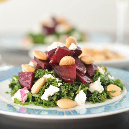 Maple Beet Kale Salad with Vegan Goat Cheese