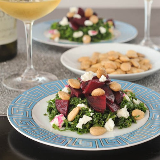 maple beet salad with vegan goat cheese