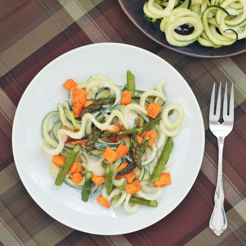 Roasted Sweet Potato and Asparagus Pasta