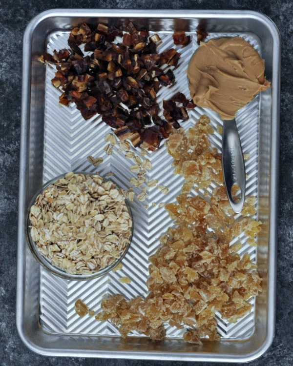 individual ingredients for Ginger Vanilla Protein Crunch Bars