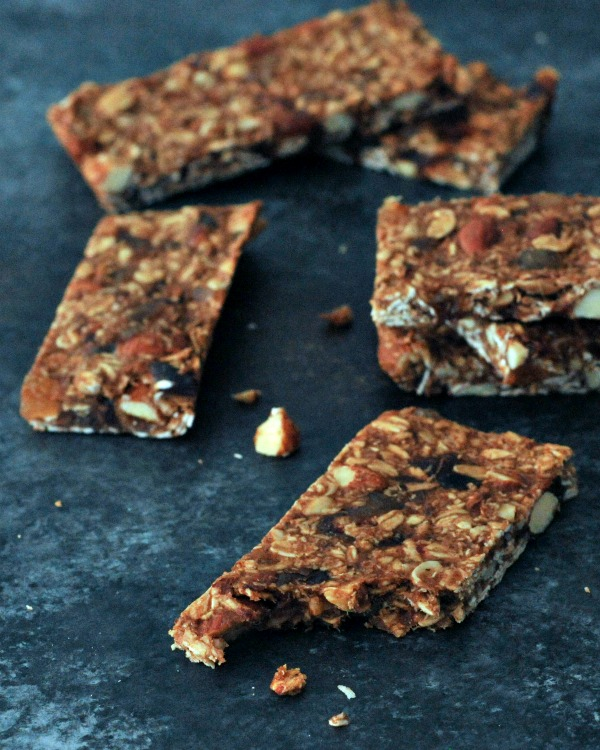 Ginger Vanilla Protein Crunch Bars in a pile