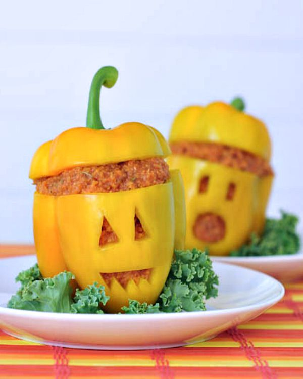 Pizza Jack O Lantern Bell Peppers