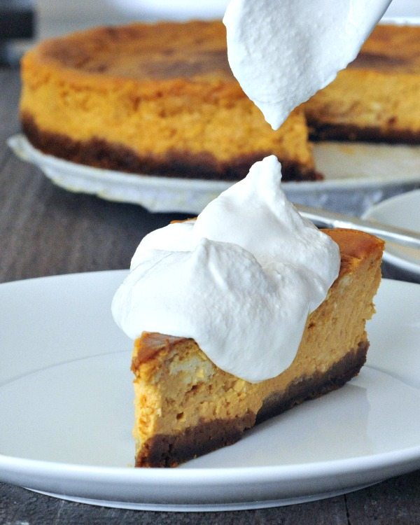 maple pumpkin cheesecake with gingersnap crust