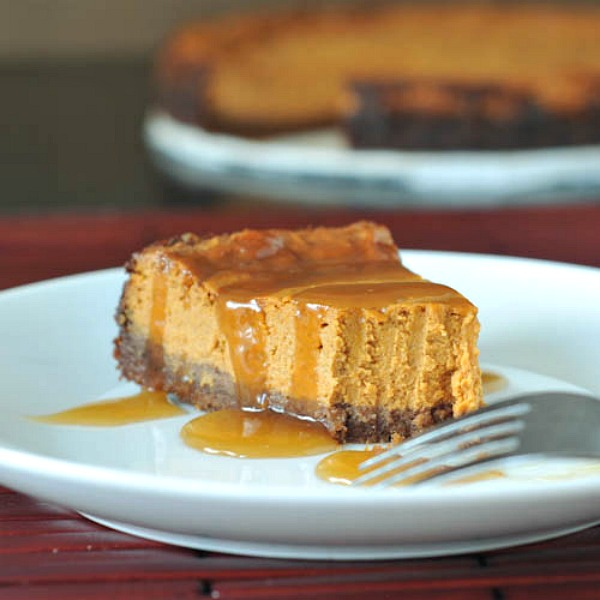 Maple Pumpkin Cheesecake with Buttery Gingersnap Crust