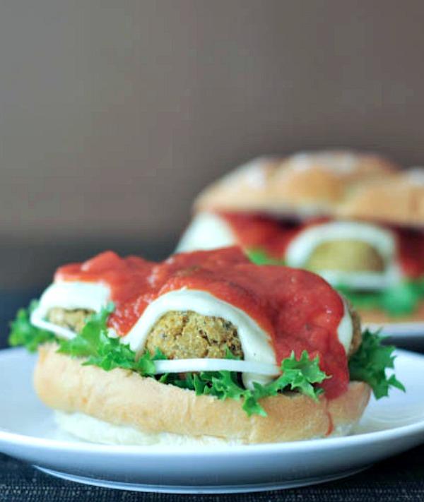 Basil Quinoa Meatball Marinara Sandwiches