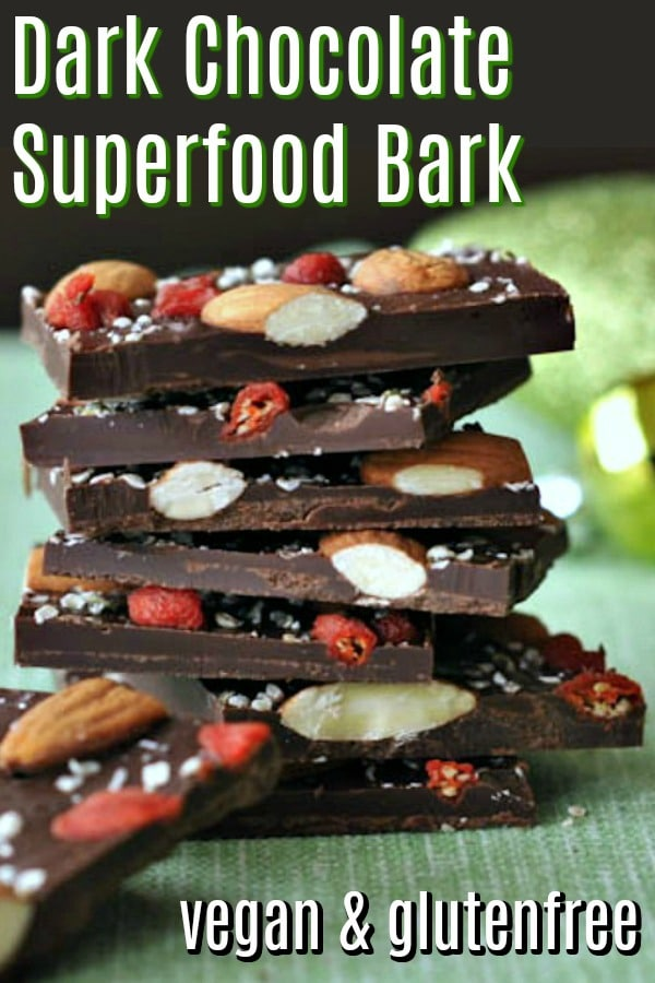 Dark Chocolate Superfood Bark @spabettie #vegan #glutenfree #chocolate