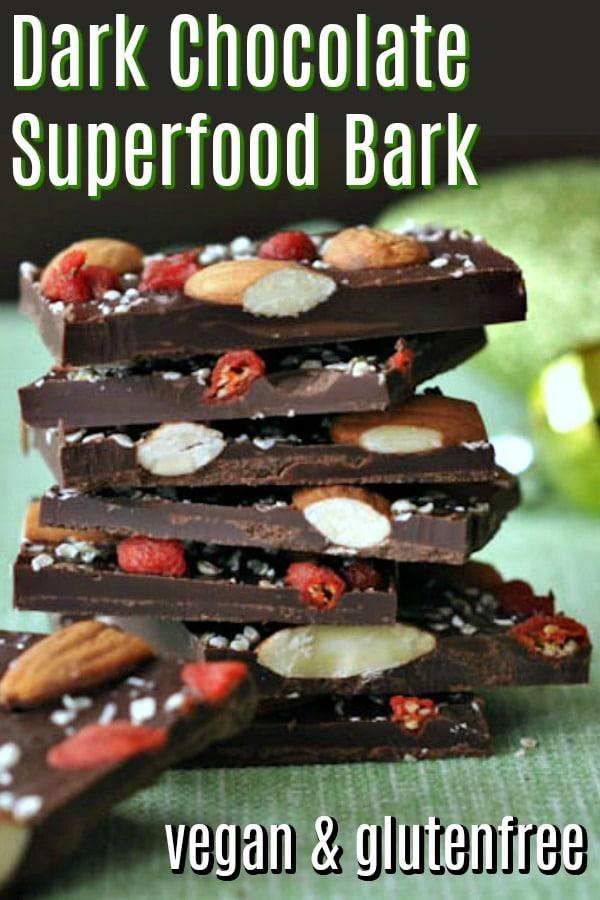 Dark Chocolate Superfood Bark @spabettie #vegan #glutenfree #chocolate