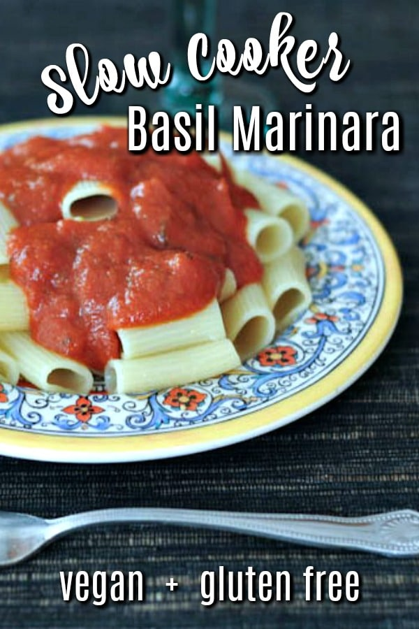 Slow Cooker Basil Marinara over pasta in an Italian pottery pasta bowl