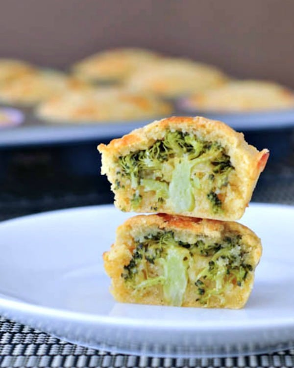 corn muffins with a tree of broccoli hidden inside (muffin cut in half to show broccoli)