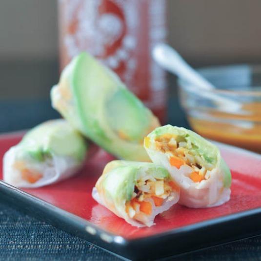 avocado shiitake spring rolls