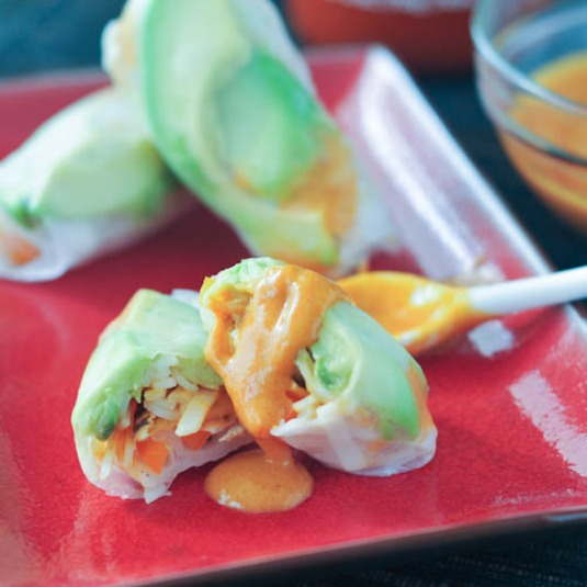 Fresh and Flavorful Avocado Shiitake Spring Rolls