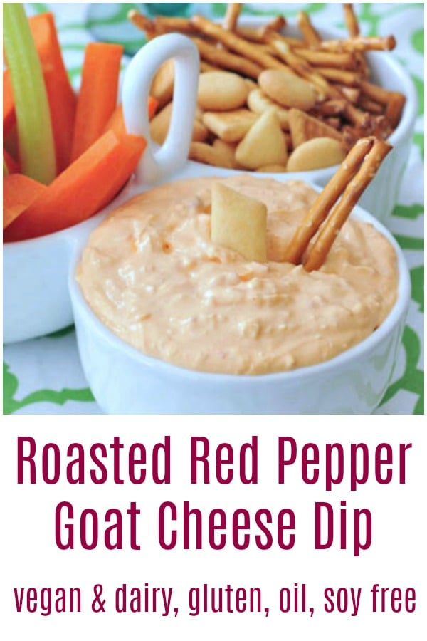 Roasted Red Pepper Goat Cheese Dip @spabettie #vegan #dairyfree #oilfree #glutenfree #soyfree #appetizer #snack