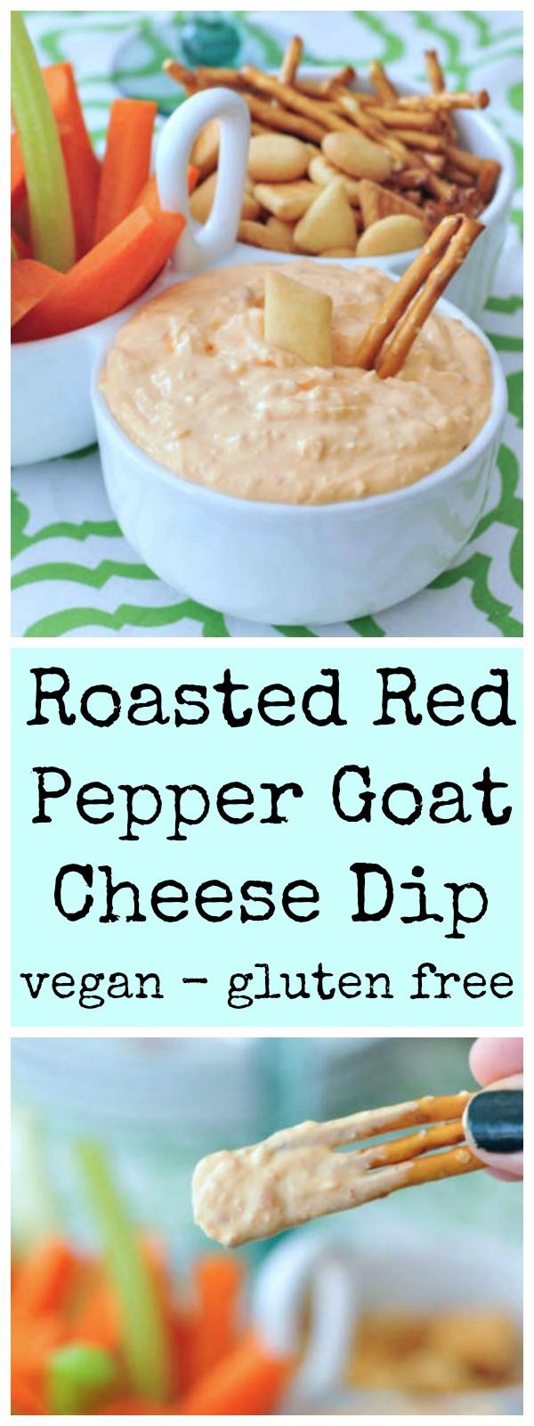 Roasted Red Pepper Goat Cheese Dip @spabettie #vegan #glutenfree