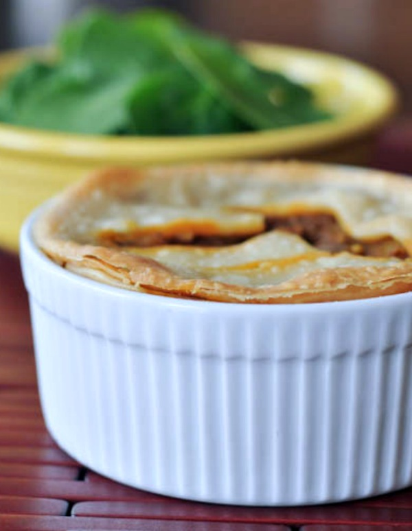 Spicy Potato Lentil Pie in a ramekin