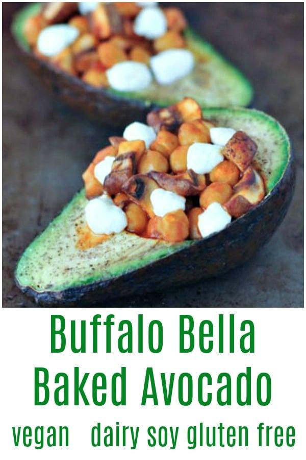 Buffalo Chickpea Bella Baked Avocado @spabettie #vegan #dairyfree #soyfree #glutenfree