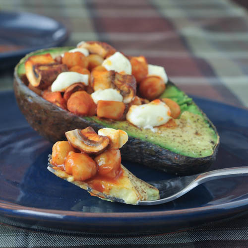 Buffalo Chickpea Bella Baked Avocado
