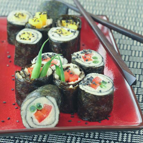 ginger-cashew nori rolls