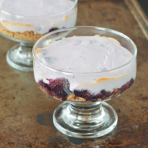 baked blueberry custard