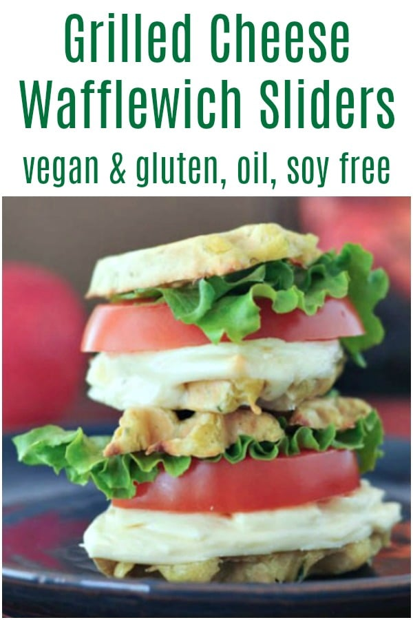 Grilled Cheese Wafflewich Sliders @spabettie #vegan #glutenfree #oilfree #soyfree #waffle