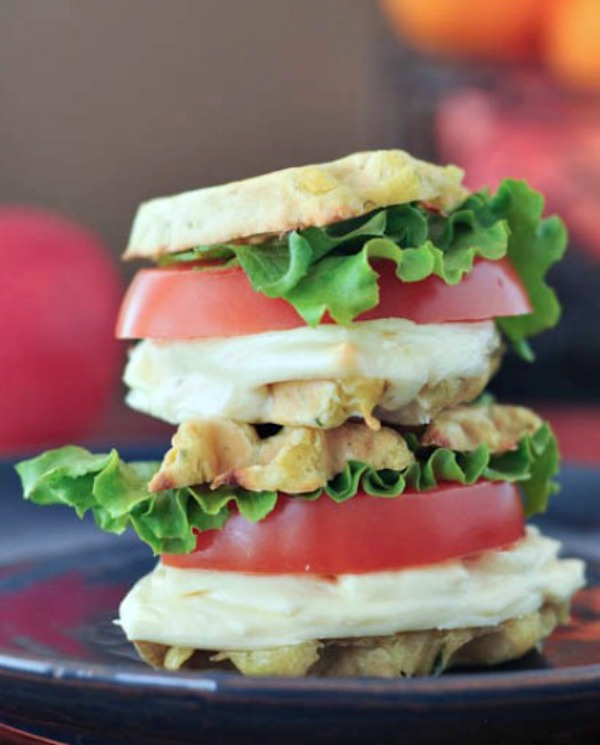 Grilled Cheese Wafflewich Sliders stacked on top of one other
