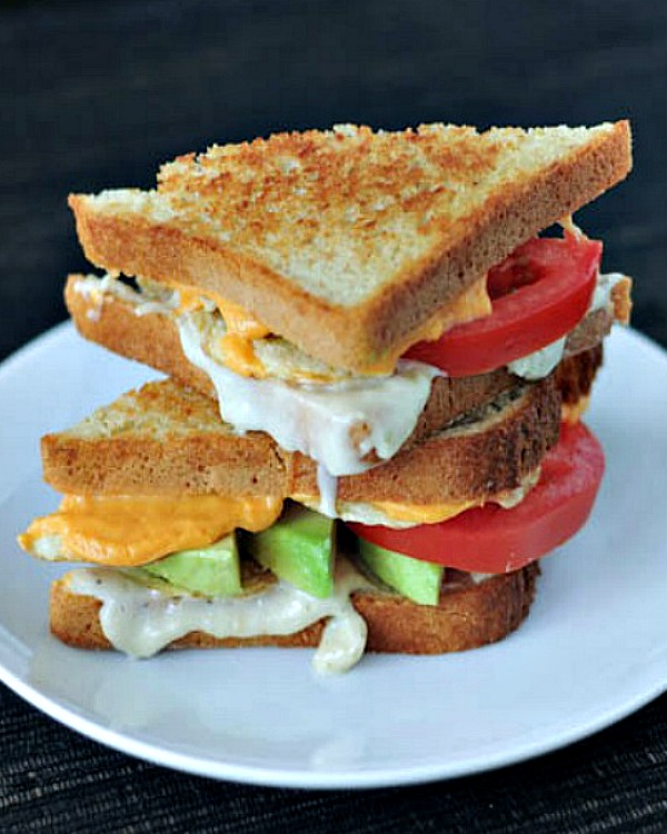 Salt and Vinegar Grilled Cheese halves stacked high