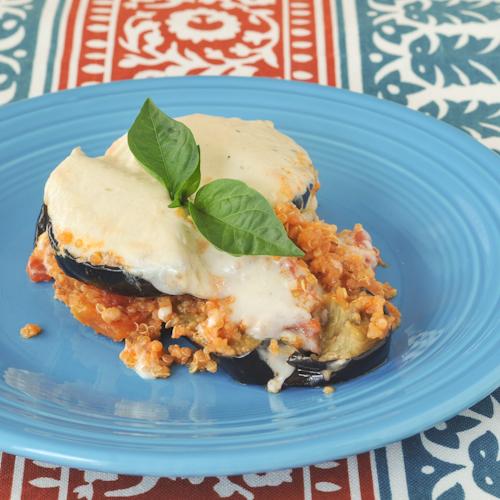 quinoa moussaka with garlic cashew bechamel