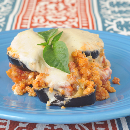 quinoa moussaka with garlic cashew bechamel