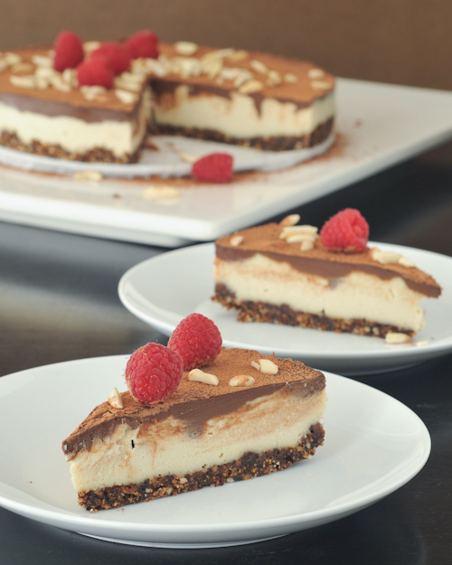 chocolate ganache swirl cheesecake with almond fig crust