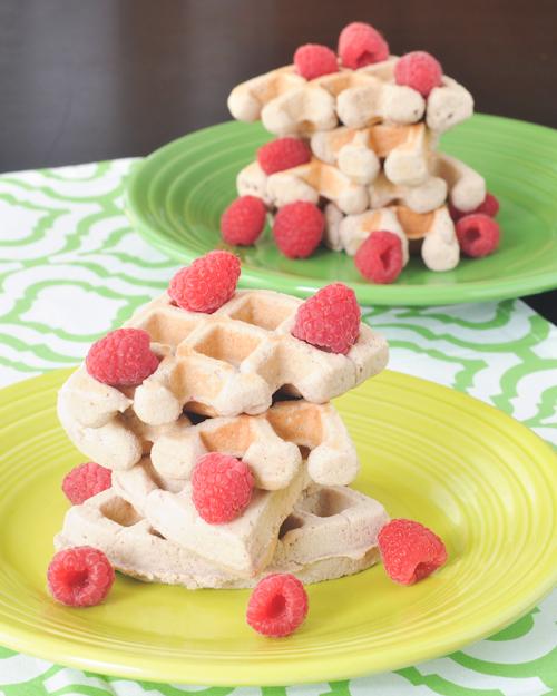 raspberry coconut flax waffles