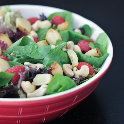 roasted garlic and raspberry salad