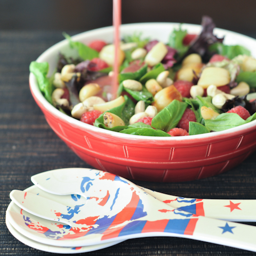 Roasted Garlic and Raspberry Big Salad