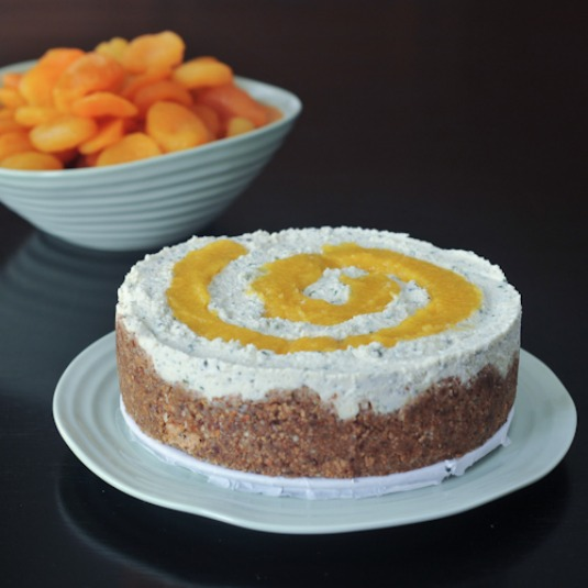 apricot rosemary cheesecake with almond fig crust